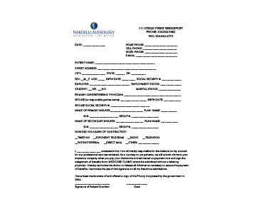 Patient Records Authorization - PDF Form - Nardelli Audiology